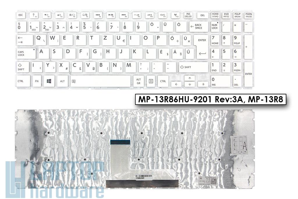 Toshiba Satellite L50-B, L50D-B gyári új magyar keret nélküli fehér laptop billentyűzet (AEBLI400020, MP-13R86HU-9201, MP-13R8)
