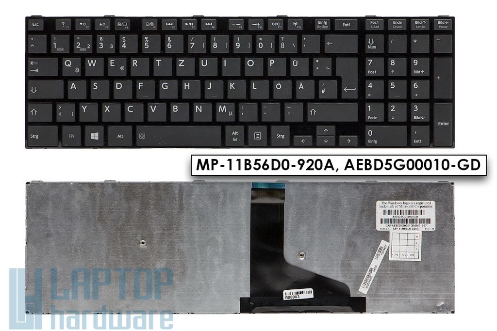 Toshiba Satellite L50, L55, L70, S75 használt német fekete laptop billentyűzet (A000244860, MP-11B56D0-920A)
