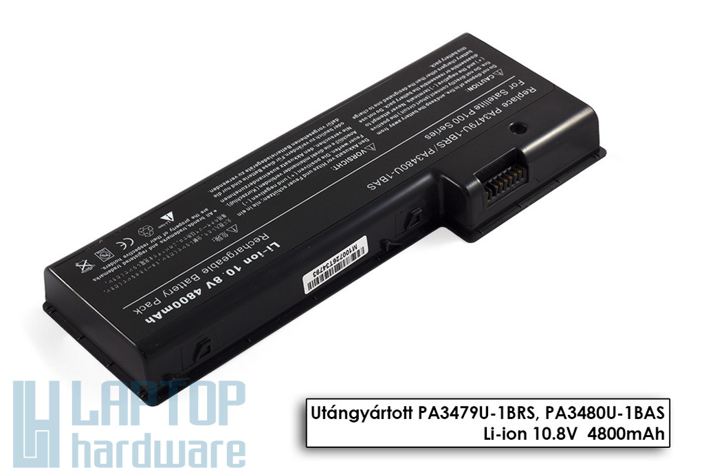 Toshiba Satellite P100, P105, Satellite Pro P100 helyettesítő új 6 cellás laptop akku/akkumulátor (PA3479U-1BRS)