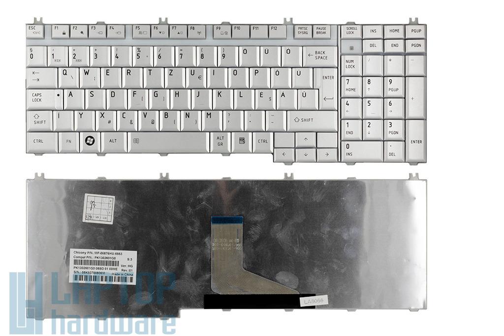 Toshiba Satellite P200, P205 gyári új magyar ezüst laptop billentyűzet (NSK-TBZ0Q)