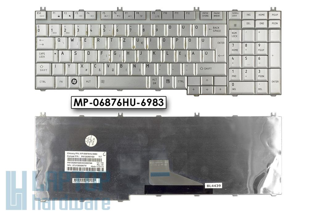 Toshiba Satellite P200, P205 használt magyar ezüst laptop billentyűzet (MP-06876HU-6983)