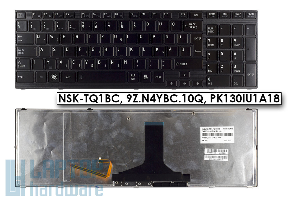 Toshiba Satellite P750, P770, P750D, P775D gyári új háttér-világításos magyar fényes fekete laptop billentyűzet (NSK-TQ1BC)