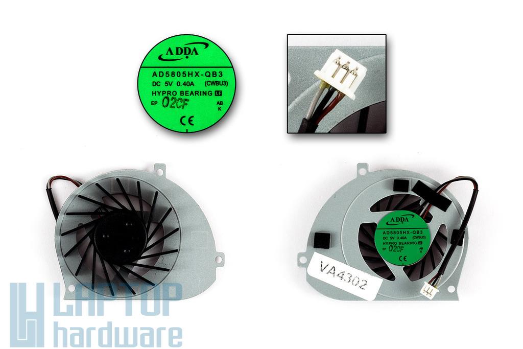Toshiba Satellite T130, T135 gyári új laptop hűtő ventilátor (AD5805HX-QB3)