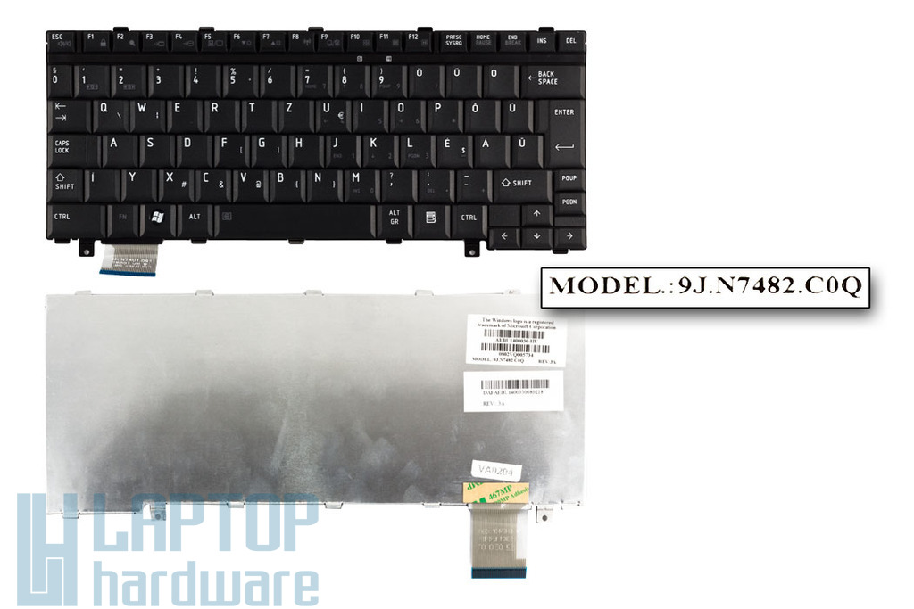 Toshiba Satellite U300, U305, Portege M700 gyári új magyar fekete laptop billentyűzet (AEBU1400030-HU)