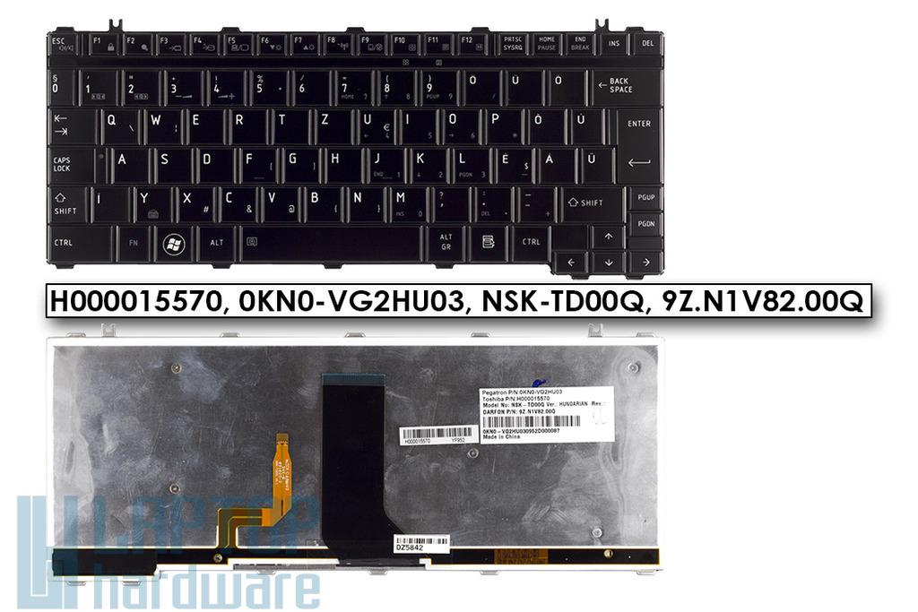 Toshiba Satellite U400, U405, U500 gyári új magyar világítós laptop billentyűzet (H000015570, 0KN0-VG2HU03)