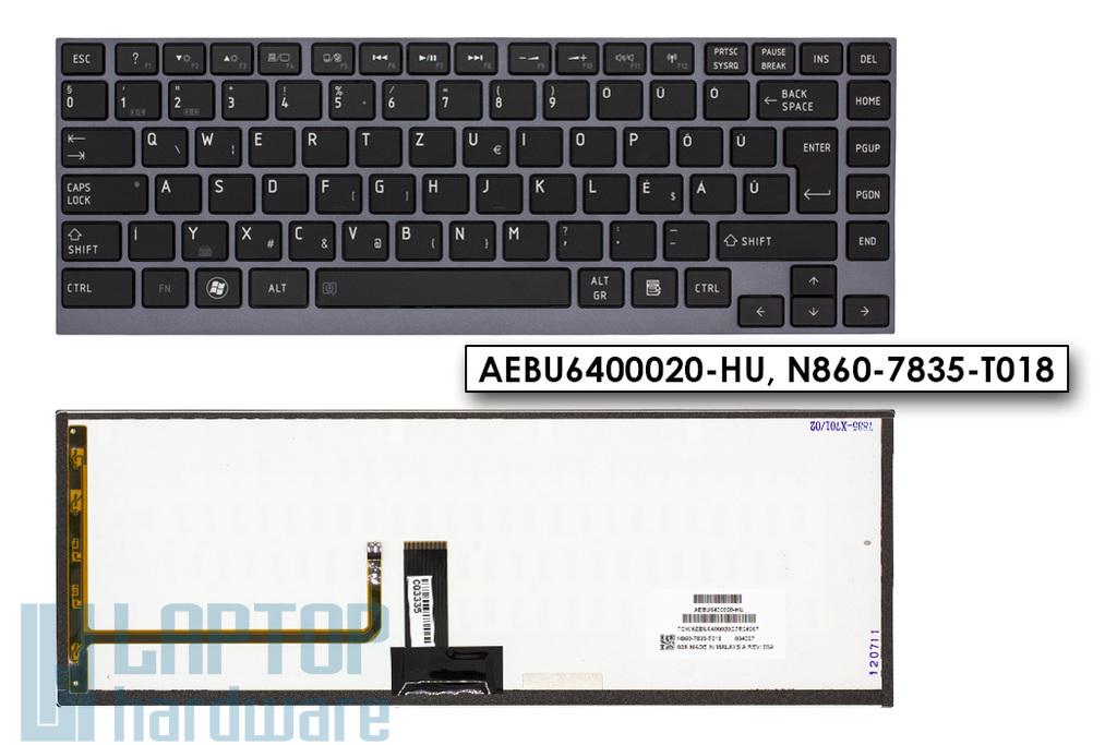 Toshiba Satellite U940, U945 gyári új magyar háttér-világításos szürke keretes laptop billentyűzet (AEBU6400020-HU, N860-7835-T018)