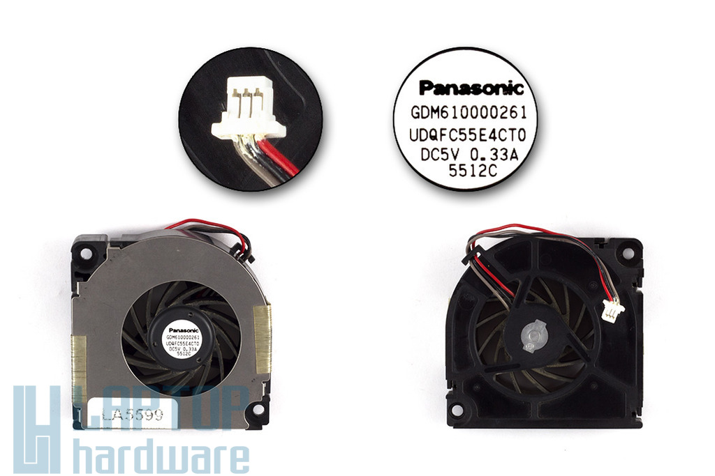 Toshiba Tecra M2, M3 használt laptop hűtő ventilátor (UDQFC55E4CT0, GDM610000261)
