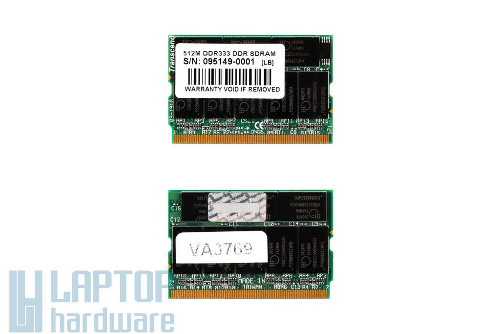 Transcend 512MB 333MHz microDIMM DDR használt laptop memória