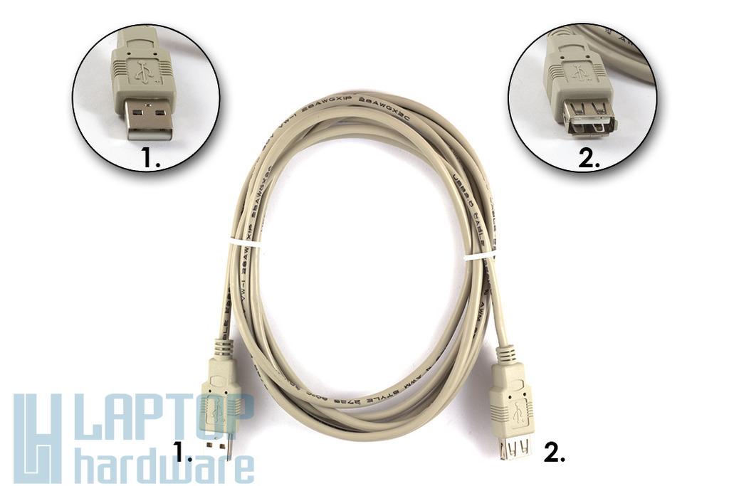 USB A apa - A anya 3m hosszabbító kábel, WUCBE-3