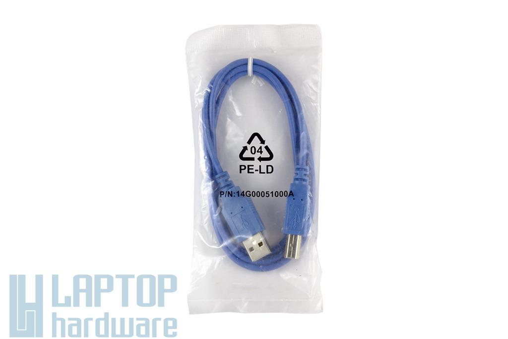 USB A apa - B apa 1m összekötő kábel, kék