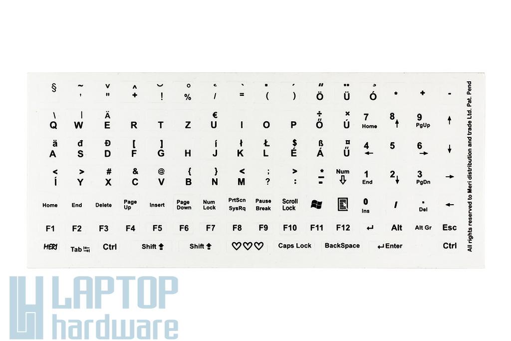 Világító billentyűzet matrica átlátszó alapon fekete betű