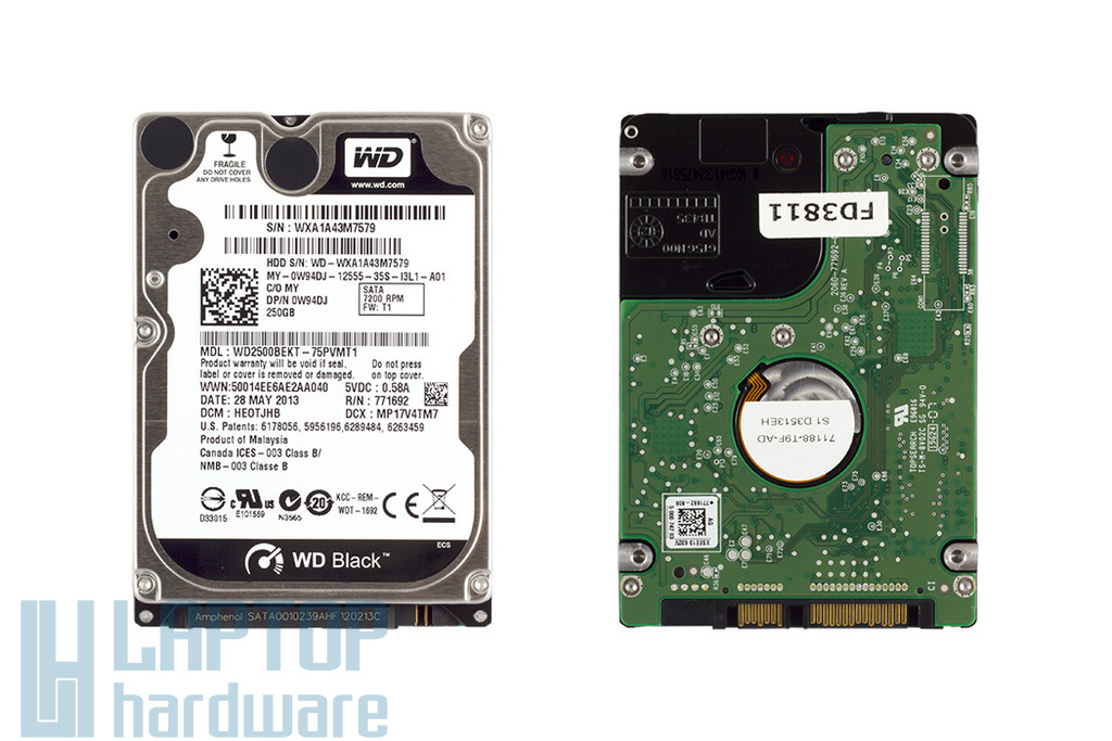 250GB 7200RPM 2,5'' SATA (3Gbit/s) gyári új laptop winchester, HDD