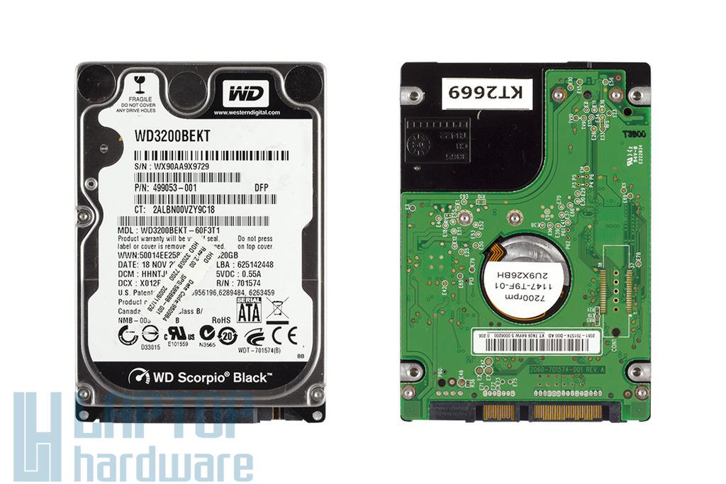 Western-Digital 320GB használt SATA II laptop winchester (WD3200BEKT)