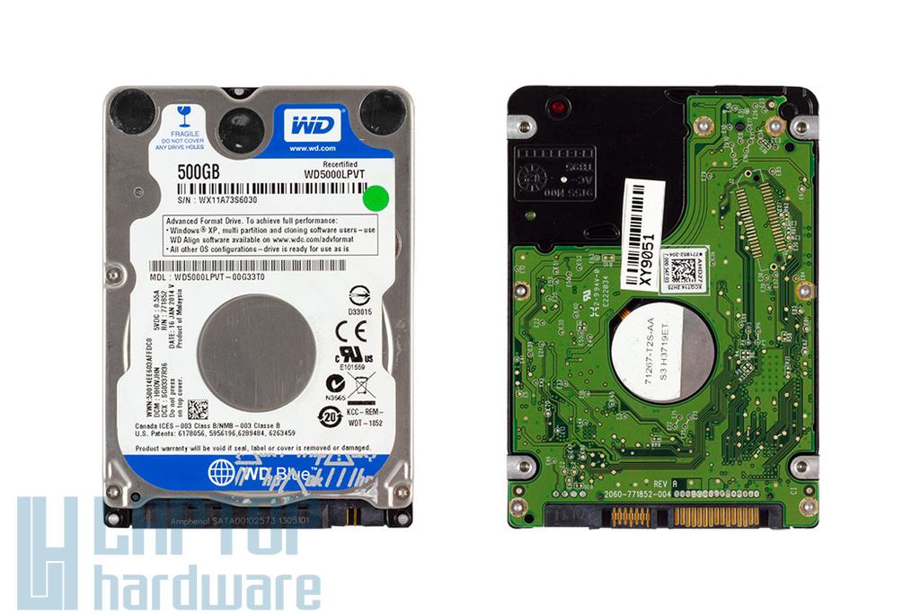 Western Digital 500GB SATA2 (7mm vékony), használt laptop winchester (WD5000LPVT)