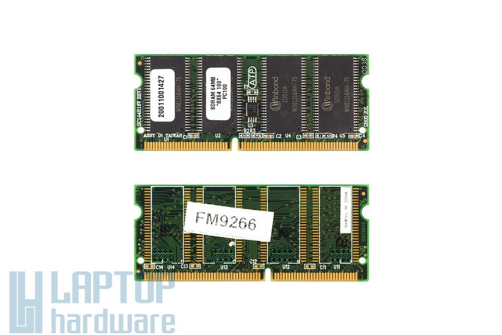 Winbond 64MB SDRAM 100Mhz használt laptop memória (W981216AH-75)