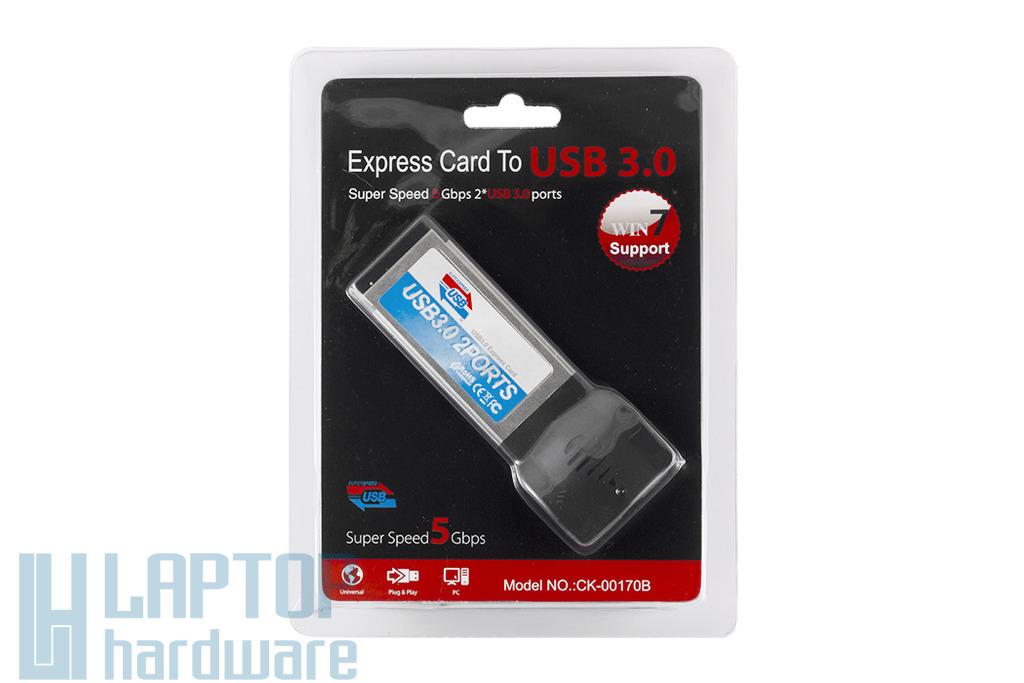 Wiretek Express Card bővítőkártya, 2x USB 3.0, CK-00170B