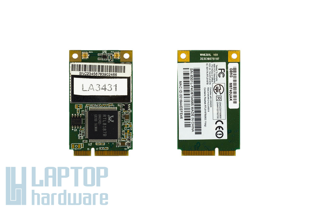 WN6301L V01 GB9G használt Mini PCI-e laptop WiFi kártya