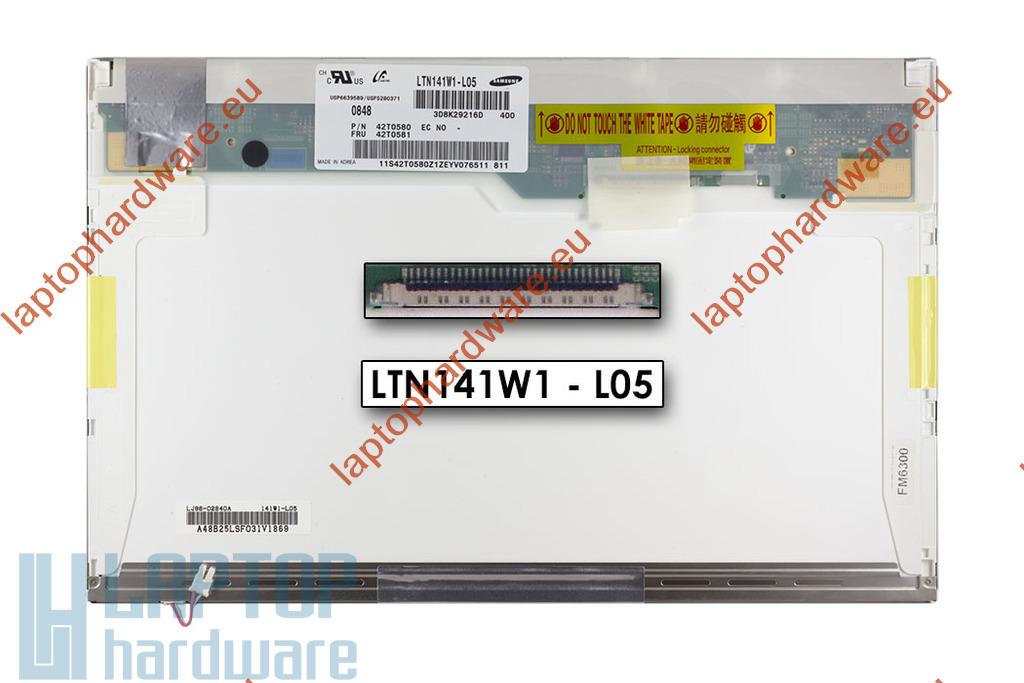 WXGA 1280x800 CCFL használt  fényes laptop kijelző, LTN141W1-L04