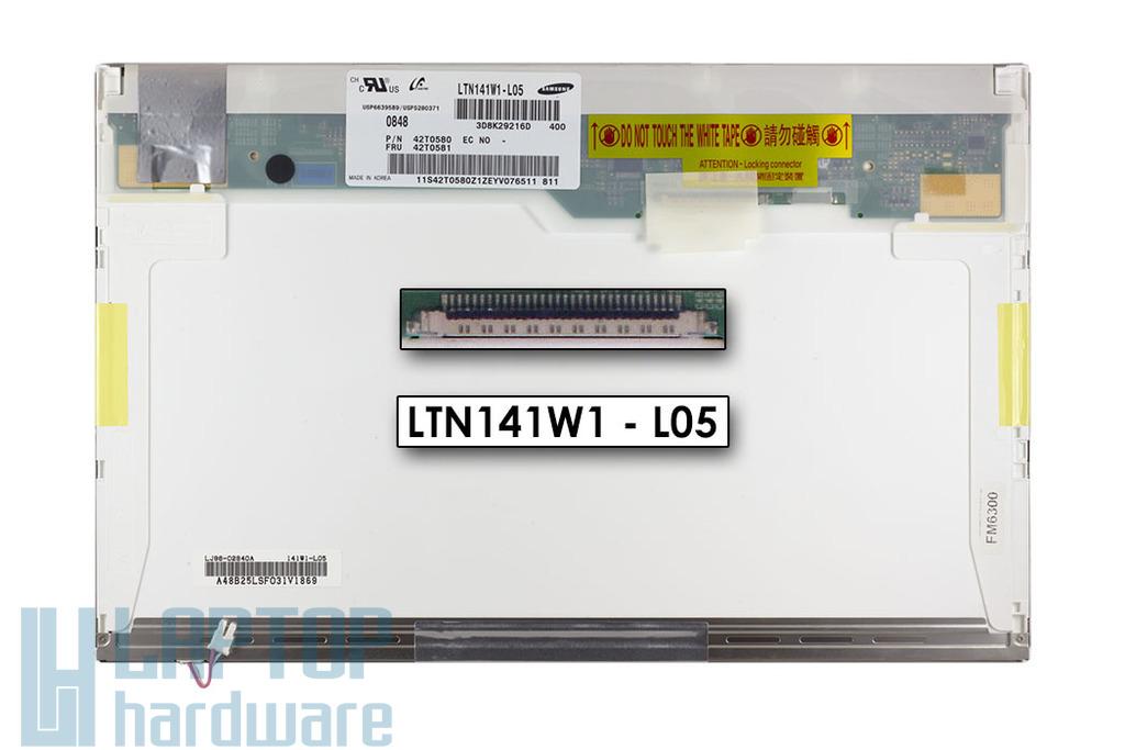 WXGA 1440 X 900 CCFL használt B kategóriás MATT laptop kijelző, LTN141W1-L05